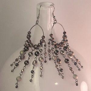 Boho Silver & Gold Tone Bead Dangling Earrings
